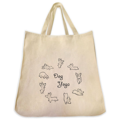 Re-usable Tote Bag - Dog Yoga Circle Outline Design Extra Large Eco Friendly Reusable Cotton Canvas Tote Bag