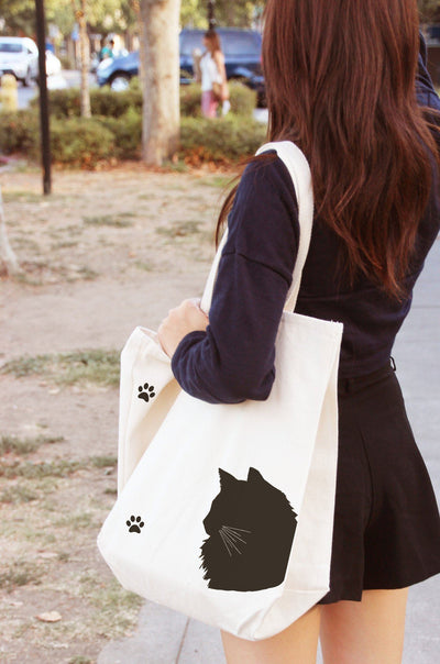 Re-usable Tote Bag - Domestic Longhair Cat Silhouette Extra Large Eco Friendly Reusable Cotton Canvas Tote Bag
