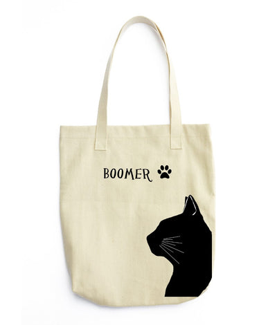 Re-usable Tote Bag - Domestic Short Hair Cat Silhouette Extra Large Eco Friendly Reusable Cotton Canvas Tote Bag