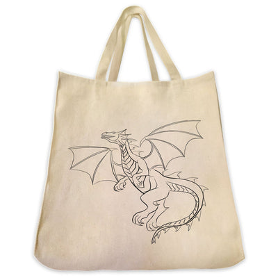 Re-usable Tote Bag - Dragon Outline Full Body Design Extra Large Eco Friendly Reusable Cotton Canvas Tote Bag
