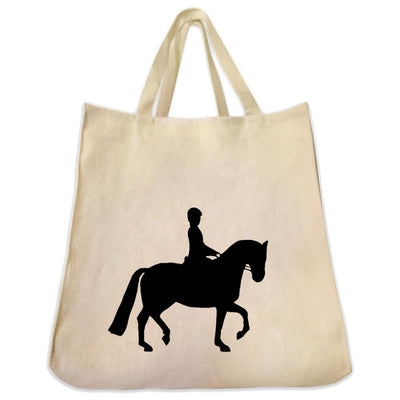 Re-usable Tote Bag - Dressage Trilogy Series Extra Large Eco Friendly Reusable Cotton Canvas Tote Bag