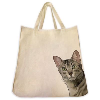 Re-usable Tote Bag - Egyptian Mau Cat Extra Large Eco Friendly Reusable Cotton Canvas Tote Bag