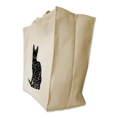 Re-usable Tote Bag - Egyptian Mau Silhouette Design Extra Large Eco Friendly Reusable Cotton Canvas Tote Bag