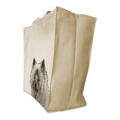 Re-usable Tote Bag - Eurasier Dog Portrait Design Extra Large Eco Friendly Reusable Cotton Canvas Tote Bag