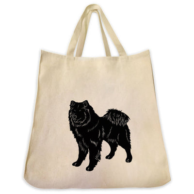 Re-usable Tote Bag - Eurasier Dog Silhouette Design Extra Large Eco Friendly Reusable Cotton Canvas Tote Bag