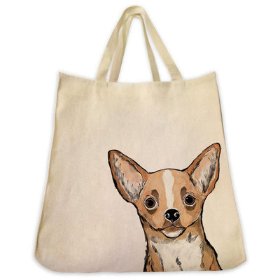 Re-usable Tote Bag - Fawn Chihuahua Color Portrait Design Extra Large Eco Friendly Reusable Cotton Canvas Tote Bag