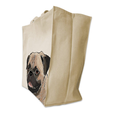 Re-usable Tote Bag - Fawn Pug Color Portrait Design Extra Large Eco Friendly Reusable Cotton Canvas Tote Bag