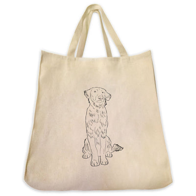 Re-usable Tote Bag - Flat-Coated Retriever Outline Design Extra Large Eco Friendly Reusable Cotton Canvas Tote Bag