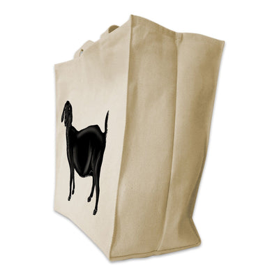 Re-usable Tote Bag - Floppy Ear Black Goat Color Full Body Design Extra Large Eco Friendly Reusable Cotton Canvas Tote Bag