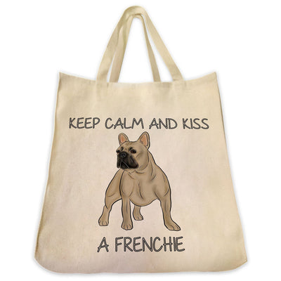 "Re-usable Tote Bag - French Bulldog Color Full Body ""Kiss A Frenchie"" Design Extra Large Eco Friendly Reusable Cotton Canvas Tote Bag"