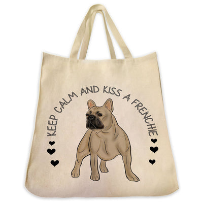 "Re-usable Tote Bag - French Bulldog Color Full Body ""Kiss A Frenchie"" Wrapped Text Design Extra Large Eco Friendly Reusable Cotton Canvas Tote Bag"
