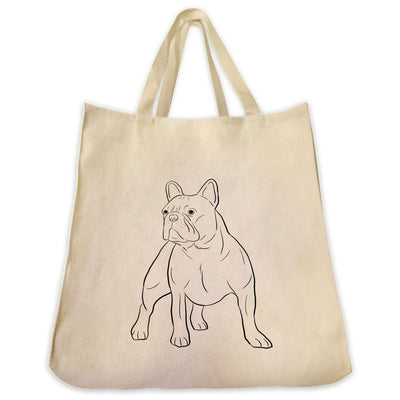 Re-usable Tote Bag - French Bulldog Outline Full Body Design Extra Large Eco Friendly Reusable Cotton Canvas Tote Bag