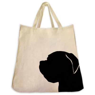 Re-usable Tote Bag - French Mastiff Silhouette Extra Large Eco Friendly Reusable Cotton Canvas Tote Bag