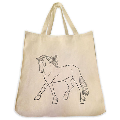 Re-usable Tote Bag - Friesian Horse Outline Design Extra Large Eco Friendly Reusable Cotton Canvas Tote Bag