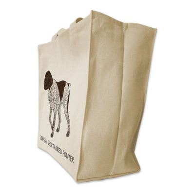 Re-usable Tote Bag - German Shorthair Pointer Color Full Body Design Extra Large Eco Friendly Reusable Cotton Canvas Tote Bag