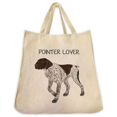 "Re-usable Tote Bag - German Shorthair Pointer Color Full Body ""Pointer Lover"" Design Extra Large Eco Friendly Reusable Cotton Canvas Tote Bag"