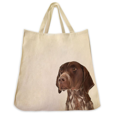 Re-usable Tote Bag - German Shorthair Pointer Color Portrait Design Extra Large Eco Friendly Reusable Cotton Canvas Tote Bag