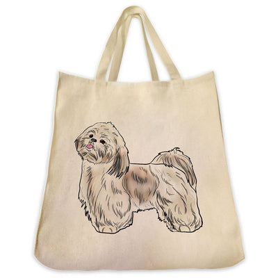 Re-usable Tote Bag - Gold And White Shih Tzu Dog Color Full Body Design Extra Large Eco Friendly Reusable Cotton Canvas Tote Bag