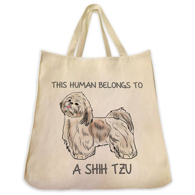 "Re-usable Tote Bag - Gold And White Shih Tzu Dog Color Full Body ""This Human Belongs To..."" Design Extra Large Eco Friendly Reusable Cotton Canvas Tote Bag"