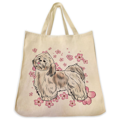 Re-usable Tote Bag - Gold And White Shih Tzu Dog Color Full Body With Flower Background Design Extra Large Eco Friendly Reusable Cotton Canvas Tote Bag