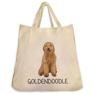 Re-usable Tote Bag - Goldendoodle Color Full Body Design Extra Large Eco Friendly Reusable Cotton Canvas Tote Bag