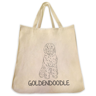 Re-usable Tote Bag - Goldendoodle Outline Full Body Design Extra Large Eco Friendly Reusable Cotton Canvas Tote Bag