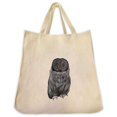 Re-usable Tote Bag - Great Grey Owl Design Extra Large Eco Friendly Reusable Cotton Canvas Tote Bag