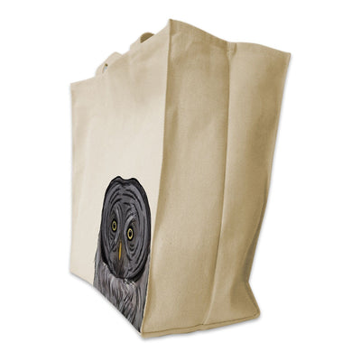Re-usable Tote Bag - Great Grey Owl Portrait Design Extra Large Eco Friendly Reusable Cotton Canvas Tote Bag