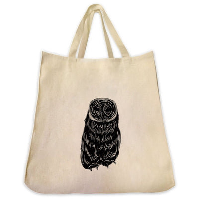 Re-usable Tote Bag - Great Grey Owl Silhouette Design Extra Large Eco Friendly Reusable Cotton Canvas Tote Bag
