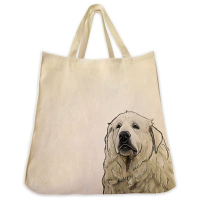 Re-usable Tote Bag - Great Pyrenees Extra Large Eco Friendly Reusable Cotton Canvas Tote Bag