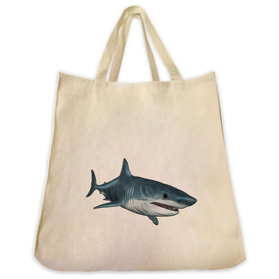 Re-usable Tote Bag - Great White Shark Extra Large Eco Friendly Reusable Cotton Canvas Tote Bag