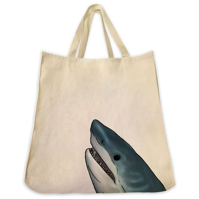 Re-usable Tote Bag - Great White Shark Portrait Design Extra Large Eco Friendly Reusable Cotton Canvas Tote Bag