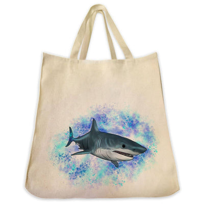 Re-usable Tote Bag - Great White Shark With Ocean Background Design Extra Large Eco Friendly Reusable Cotton Canvas Tote Bag