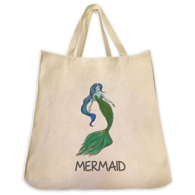 Re-usable Tote Bag - Green Mermaid Color Full Body Design Extra Large Eco Friendly Reusable Cotton Canvas Tote Bag