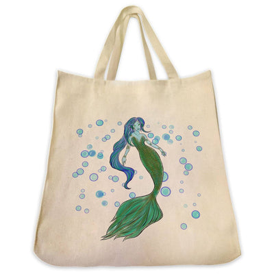 Re-usable Tote Bag - Green Mermaid Color Full Body With Background Design Extra Large Eco Friendly Reusable Cotton Canvas Tote Bag