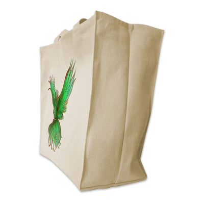 Re-usable Tote Bag - Green Phoenix Color Full Body Design Extra Large Eco Friendly Reusable Cotton Canvas Tote Bag