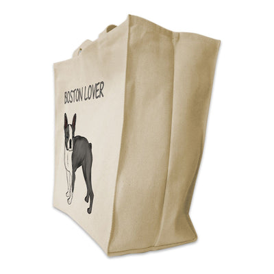 "Re-usable Tote Bag - Grey Boston Terrier Color Full Body ""Boston Lover"" Design Extra Large Eco Friendly Reusable Cotton Canvas Tote Bag"