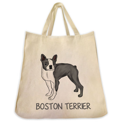 Re-usable Tote Bag - Grey Boston Terrier Color Full Body Design Extra Large Eco Friendly Reusable Cotton Canvas Tote Bag
