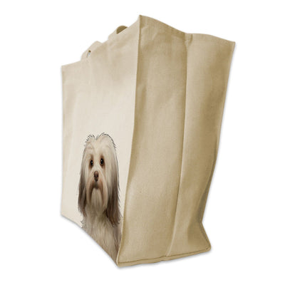 Re-usable Tote Bag - Havanese Dog Color Portrait Design Extra Large Eco Friendly Reusable Cotton Canvas Tote Bag