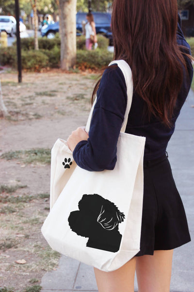 Re-usable Tote Bag - Havanese Silhouette Extra Large Eco Friendly Reusable Cotton Canvas Tote Bag