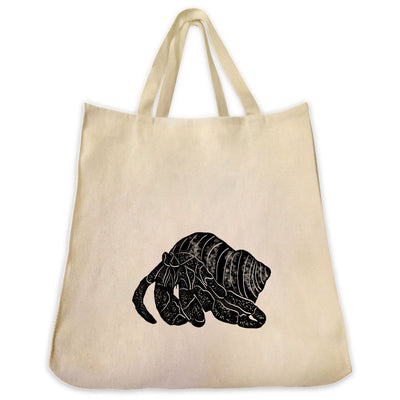 Re-usable Tote Bag - Hermit Crab Silhouette Design Extra Large Eco Friendly Reusable Cotton Canvas Tote Bag