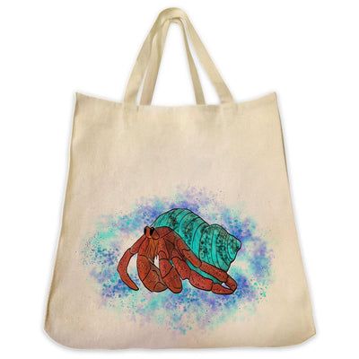 Re-usable Tote Bag - Hermit Crab With Ocean Background Design Extra Large Eco Friendly Reusable Cotton Canvas Tote Bag