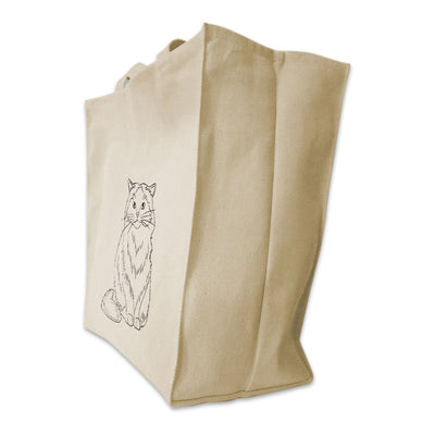 Re-usable Tote Bag - Himalayan Cat Outline Design Extra Large Eco Friendly Reusable Cotton Canvas Tote Bag