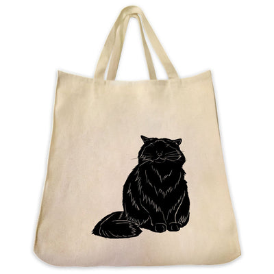 Re-usable Tote Bag - Himalayan Cat Silhouette Design Extra Large Eco Friendly Reusable Cotton Canvas Tote Bag