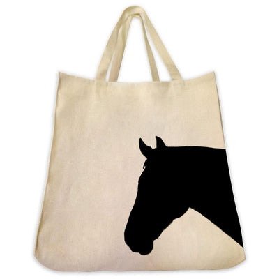 Re-usable Tote Bag - Horse Silhouette Extra Large Eco Friendly Reusable Cotton Canvas Tote Bag