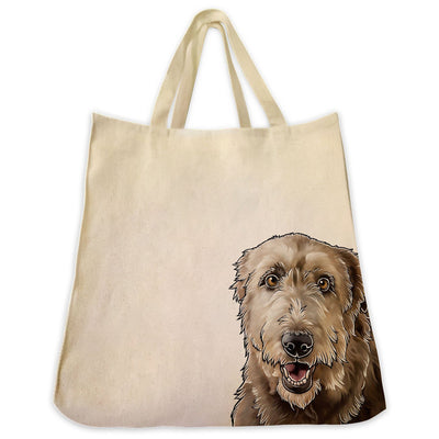 Re-usable Tote Bag - Irish Wolfhound Extra Large Eco Friendly Reusable Cotton Canvas Tote Bag