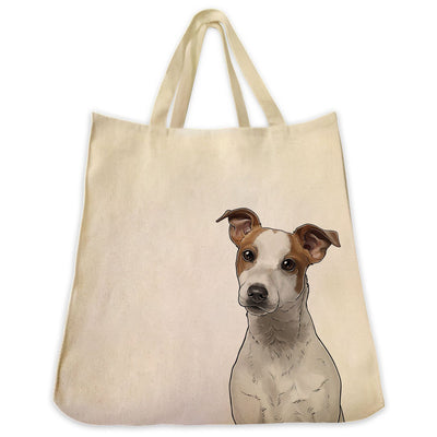 Re-usable Tote Bag - Jack Russell Terrier Smooth Coat Color Portrait Design Extra Large Eco Friendly Reusable Cotton Canvas Tote Bag