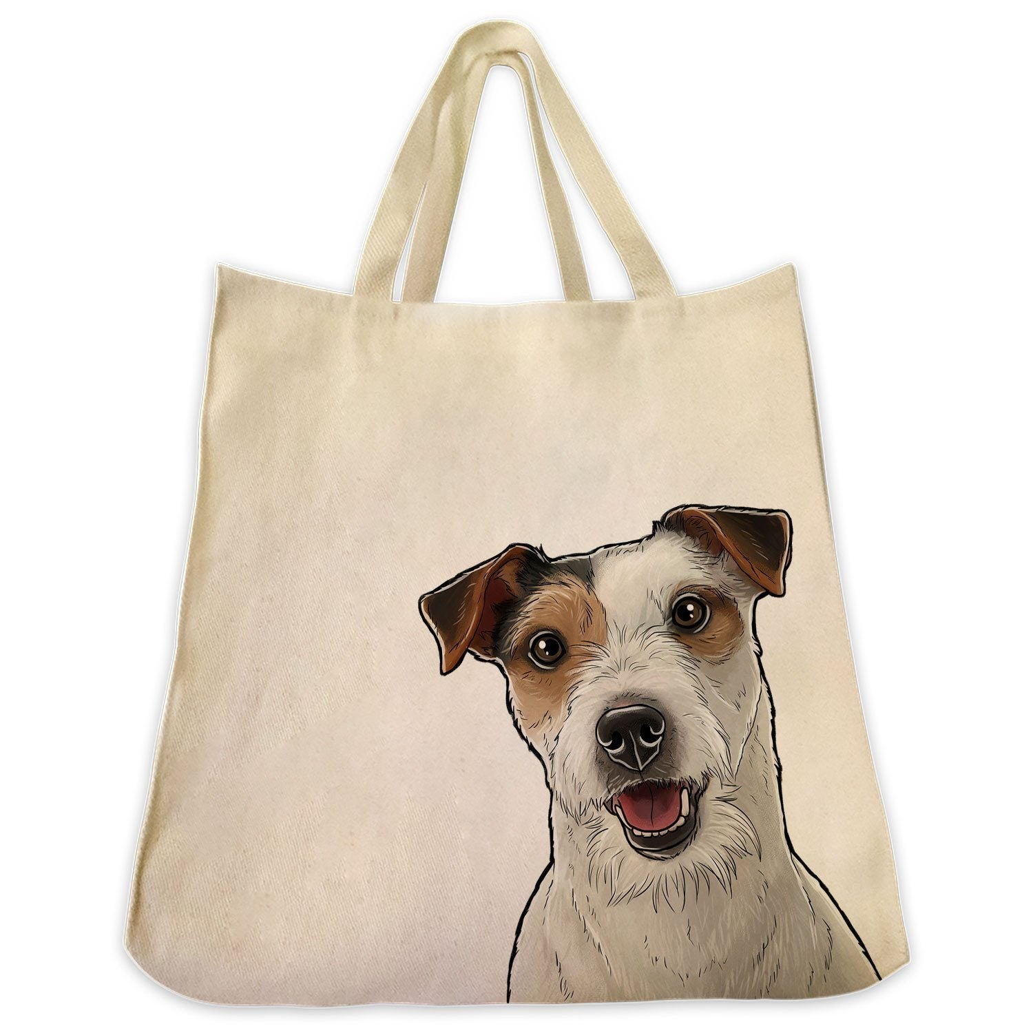 Jack Russell Terrier Wire Hair Color Portrait Design Canvas Tote Bag