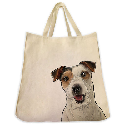 Re-usable Tote Bag - Jack Russell Terrier Wire Hair Color Portrait Design Extra Large Eco Friendly Reusable Cotton Canvas Tote Bag
