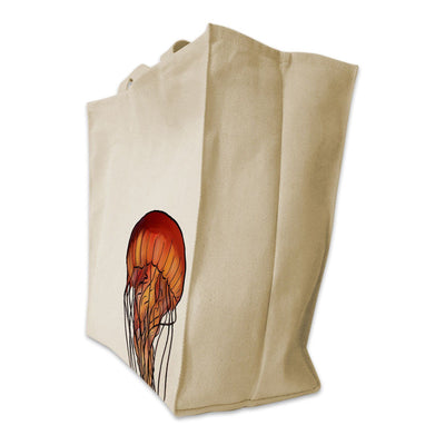 Re-usable Tote Bag - Jellyfish Portrait Design Extra Large Eco Friendly Reusable Cotton Canvas Tote Bag